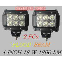2pcs 4inch 18W Genuine Cree LED Work Light Bar Driving Lamp Flood Truck Offroad