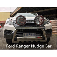 "Ford Ranger 3.0"" Stainless Steel Nudge Bar 2012-2017 Spot Light Mounting Tabs"
