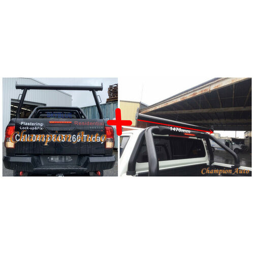BLACK Alloy Ladder Rack WITH Extension Bar for TOYOTA Hilux 2015-2020